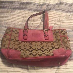 Coach monogram handbag (beige & pink)